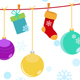 Christmas Background With Hanging Gift Boxes - GraphicRiver Item for Sale