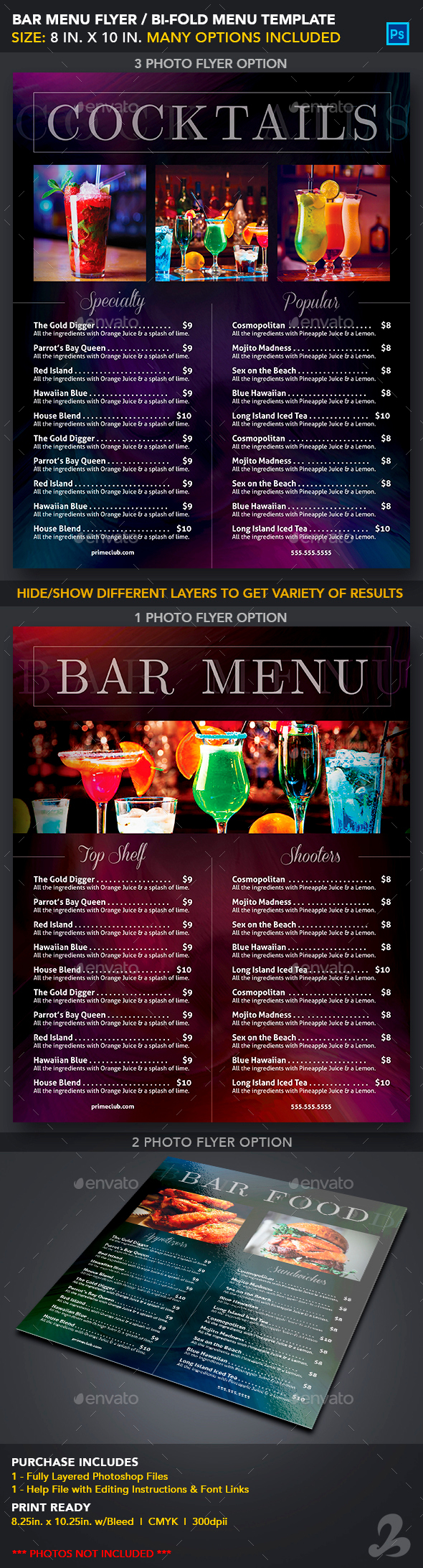 Bar Menu Template Graphics Designs Templates