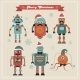 Set Of Cute Retro Vintage Hipster Christmas Robots - GraphicRiver Item for Sale