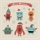 Vector Cute Retro Hipster Christmas Monsters Set - GraphicRiver Item for Sale