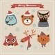 Cute Christmas Fashion Hipster Animals And Pets - GraphicRiver Item for Sale