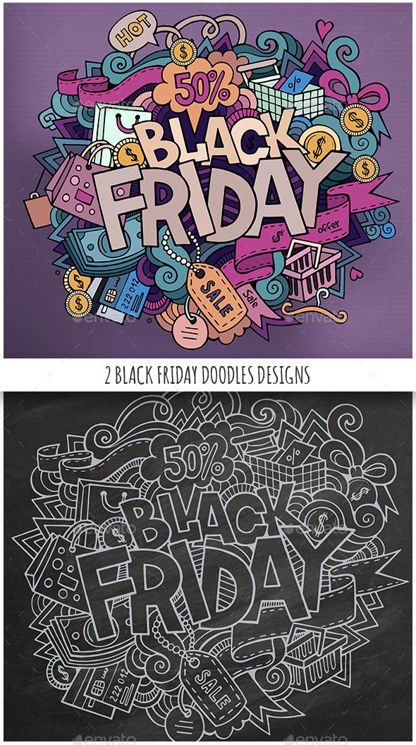 2 Black Friday Doodles Design