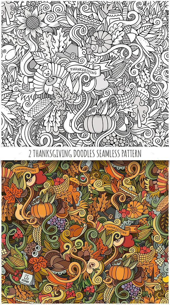 2 Thanksgiving Doodles Seamless Patterns