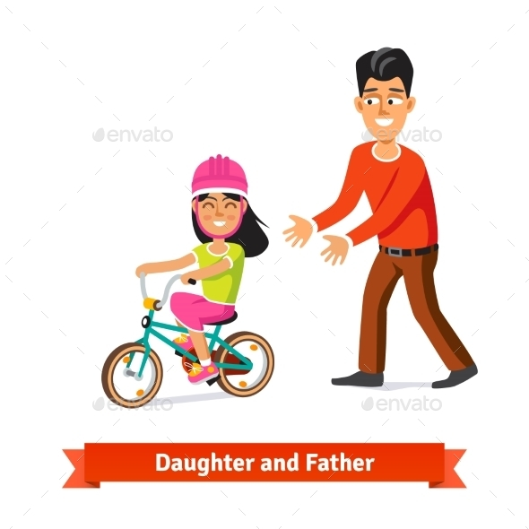Father Teaching Daughter to Ride a Bicycle