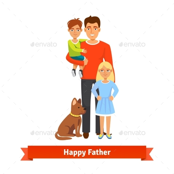 Father with Son Daughter and Dog