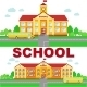 Panoramic Background with School Building - GraphicRiver Item for Sale