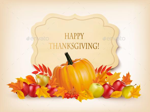 Retro Happy Thanksgiving Background Vector