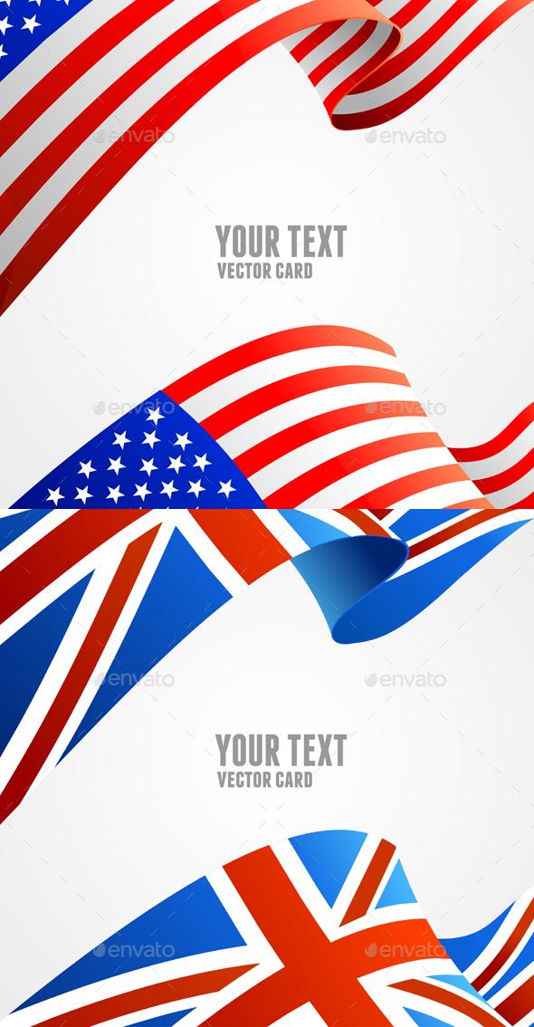 American and U.K. Flag Border Card. Vector