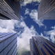 City Skyscrapers, Sky and Clouds Motion Background - VideoHive Item for Sale