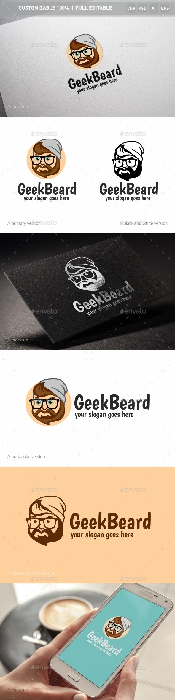 Geek Beard Logo Template