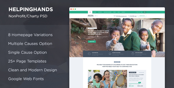 HelpingHands - NonProfit/Charity PSD