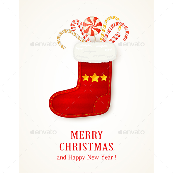 Christmas Sock with Stars and Candy Canes