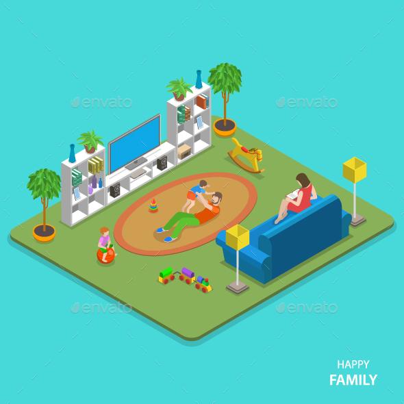 Happy Family Isometric Flat Vector Concept