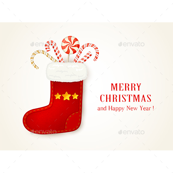 Red Christmas Sock with Candy Cane