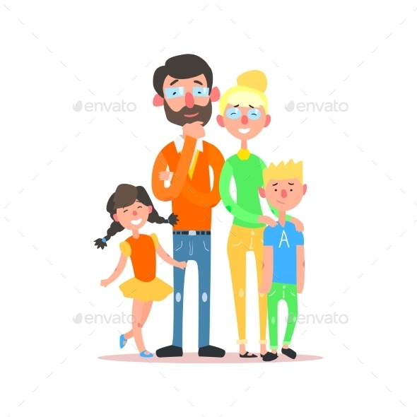Happy Family With Parents Wearing Glasses. Vector