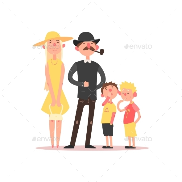Family With Parents Wearing Hats. Vector