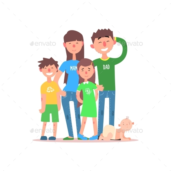 Family With Parents Wearing Jeans. Vector