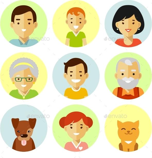Set Of Family Avatars Icons