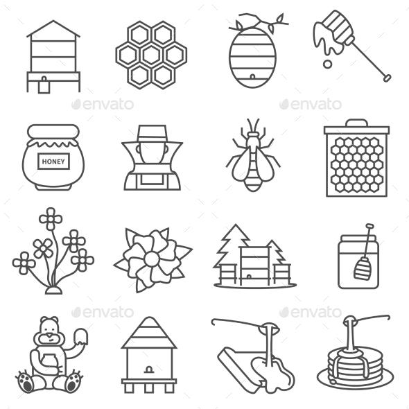 Honey Line Icons Set
