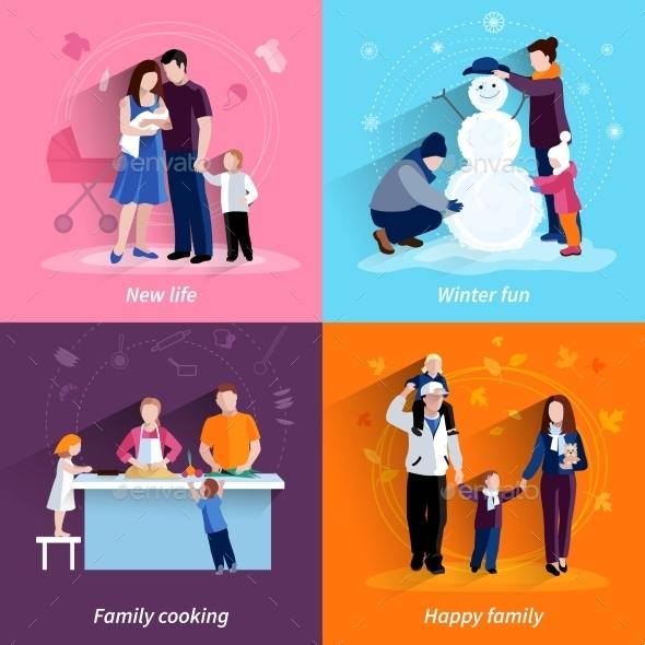 Parenthood 4 Flat Icons Square Set