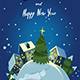 Christmas Greeting Card With Houses and Train - GraphicRiver Item for Sale