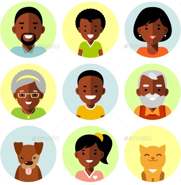African American Family Icons