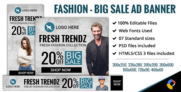 GWD | Fashion - Big Sale Banners - 7 Sizes Download