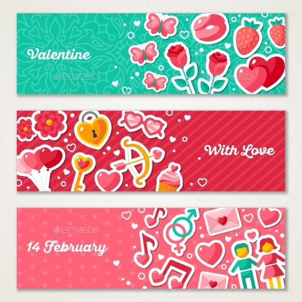 Valentines Horizontal Banners Set
