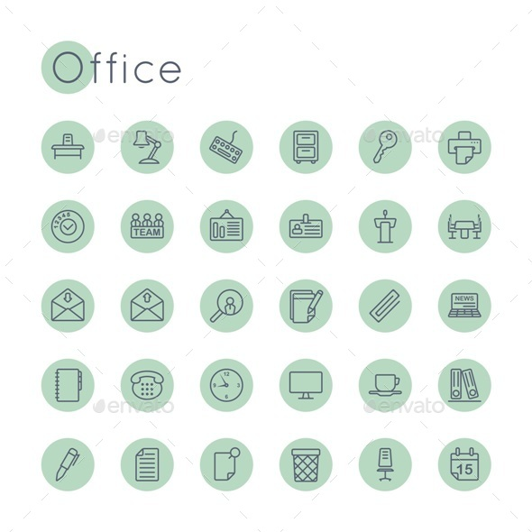 Vector Round Office Icons