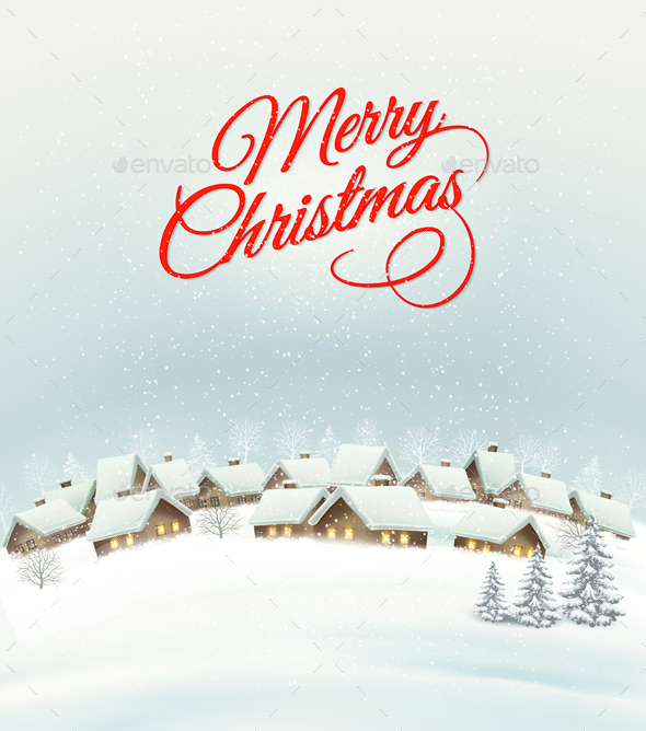 Holiday Christmas Background With A Village