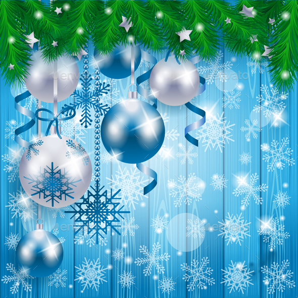 Christmas Baubles on Wooden Background, in Blue