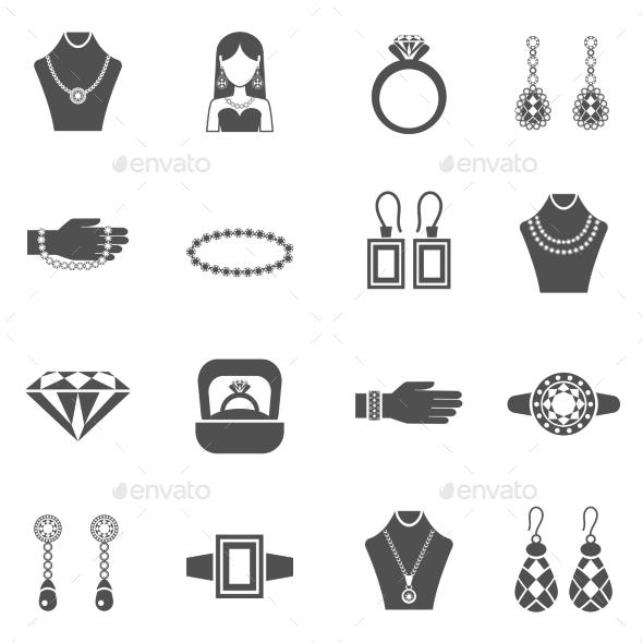 Jewelry Black White Icons Set