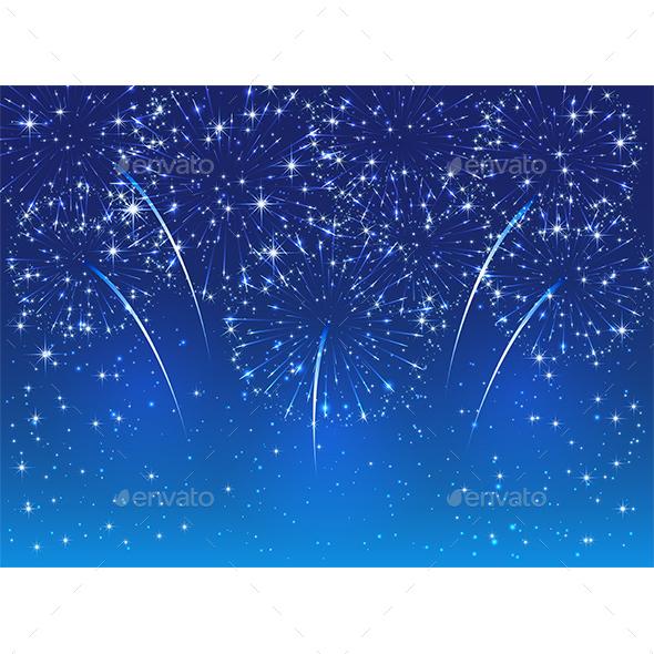 Fireworks on Blue Sky