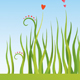 Set of backgrounds with grass, flowers and hearts - GraphicRiver Item for Sale