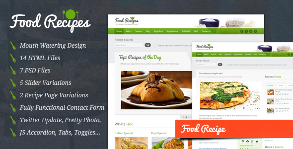 HMTL Food Website Templates from ThemeForest