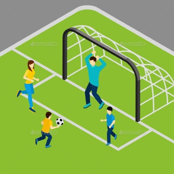 Playing Football Illustration