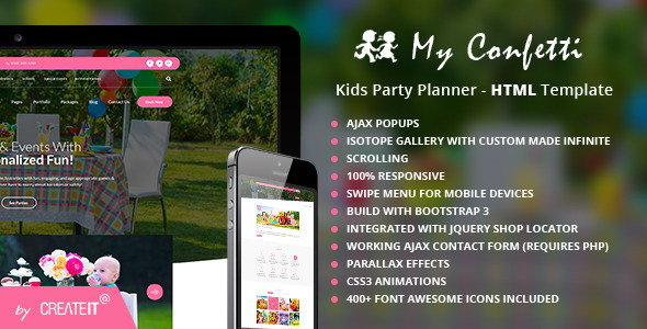 My Confetti - Kids Party Planner HTML Template