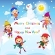 Shiny Vector Christmas Background With Funny - GraphicRiver Item for Sale