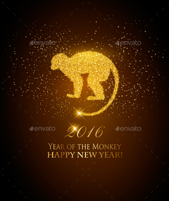 Happy New Year 2016 Background with a Monkey