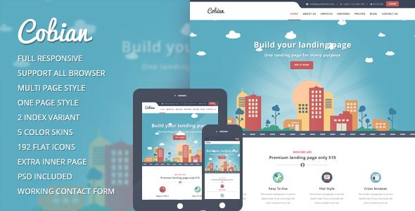 Cobian – WordPress Flat Landing Page Theme
