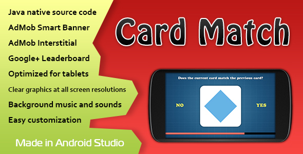 Card Match Game with AdMob and Leaderboard