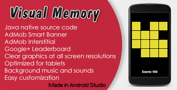 Visual Memory Game with AdMob and Leaderboard