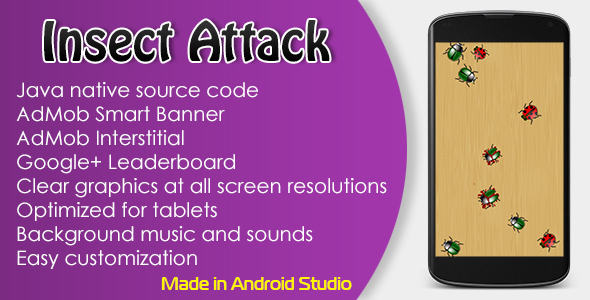 Insect Attack Game with AdMob and Leaderboard Download