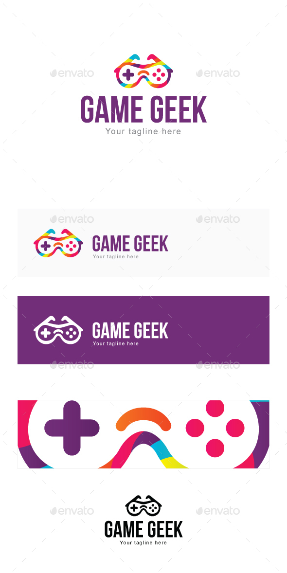 Game Geek - 3d Goggles with Remote Stock Logo Template for Blogs & Gadgets