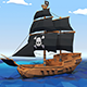 Low Poly Pirate Ship - 3DOcean Item for Sale