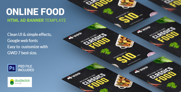 Fast Food | HTML5 Google Banner Ad 03 Download