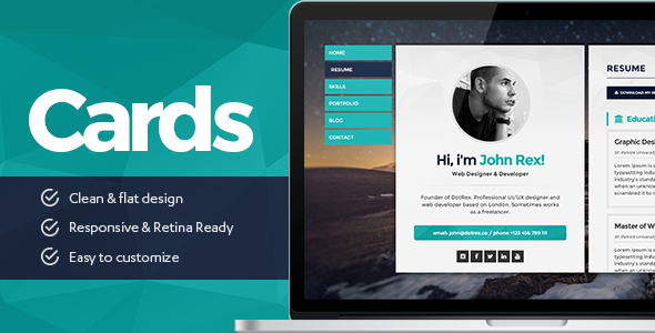 Cards - Resume & Portfolio WordPress Theme