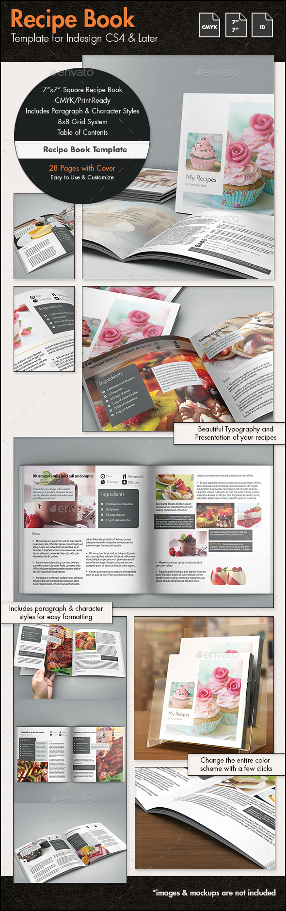 Book Template InDesign Graphics, Designs & Templates