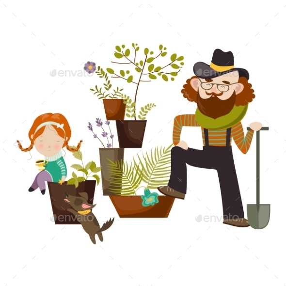 Father And Daughter Planting In The Garden