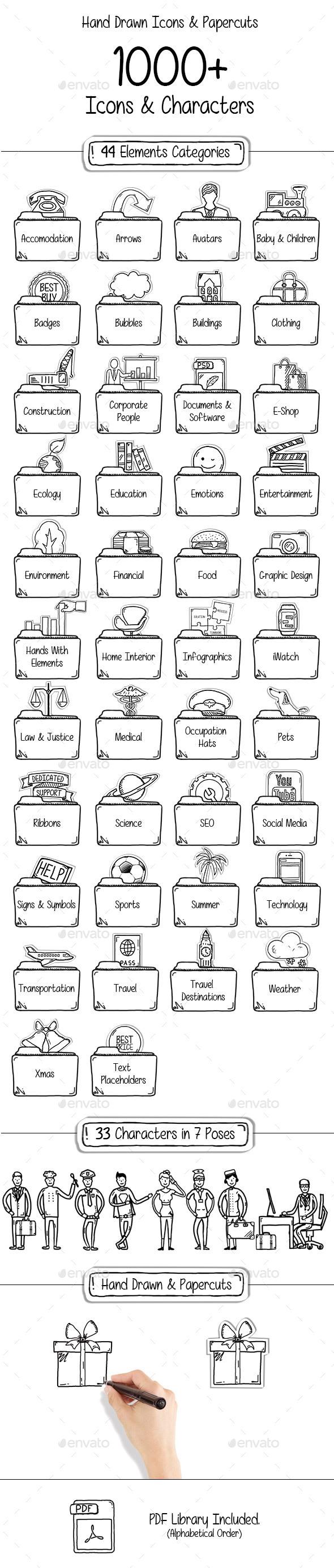 1000 Hand Drawn Icons & Papercuts